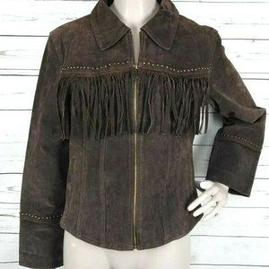 Vintage Suede Leather Studded Fringe Boho Jacket